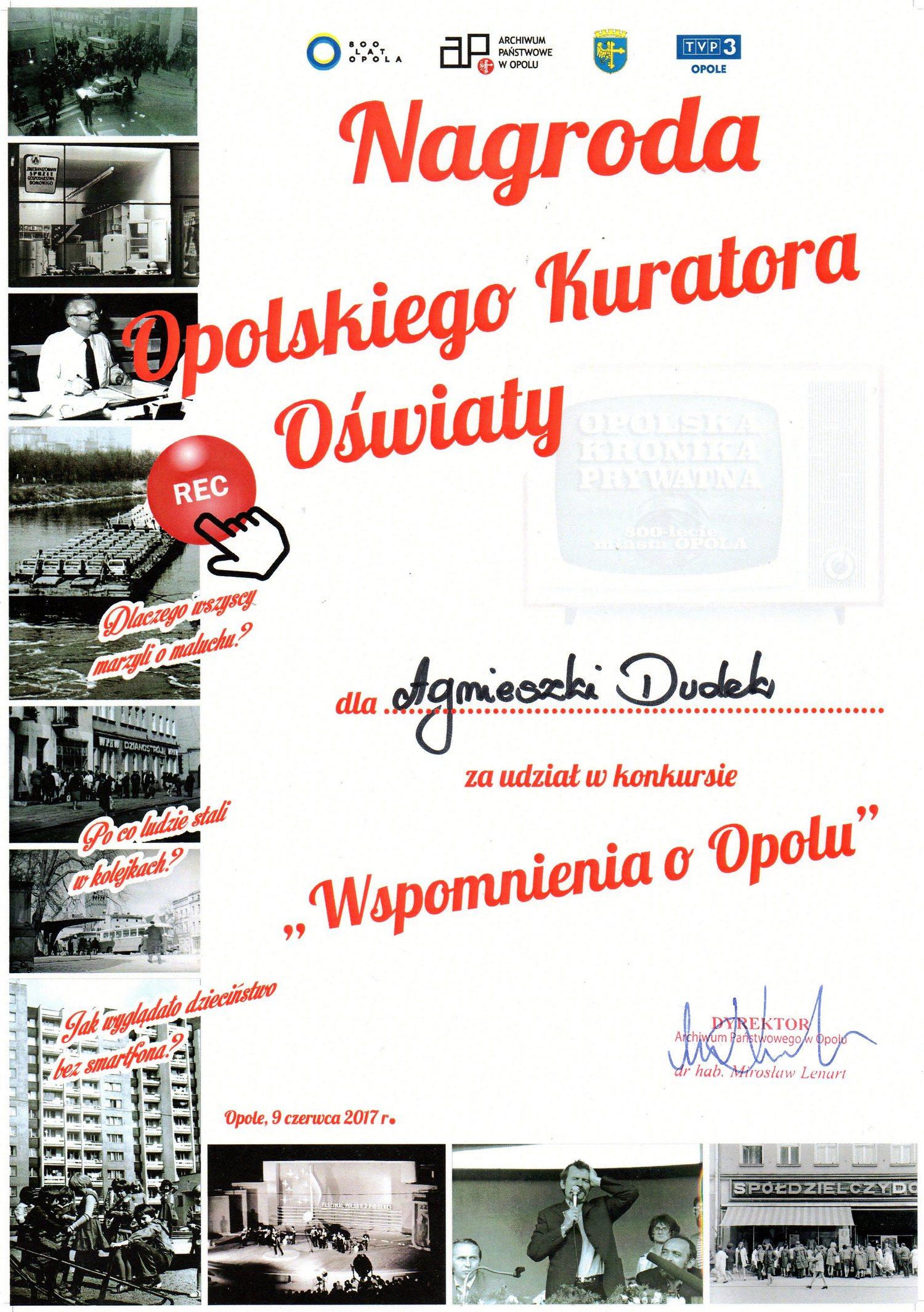 """You are browsing images from the article: 13.06.2017 – rozstrzygnięcie konkursu """"Wspomnienia o Opolu"""""""