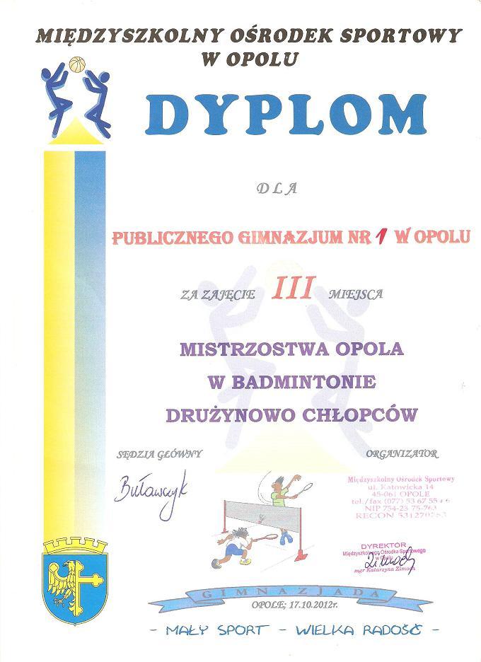 You are browsing images from the article: 3 miejsce w Mistrzostwach Opola w badmintonie - drużynowo chłopców