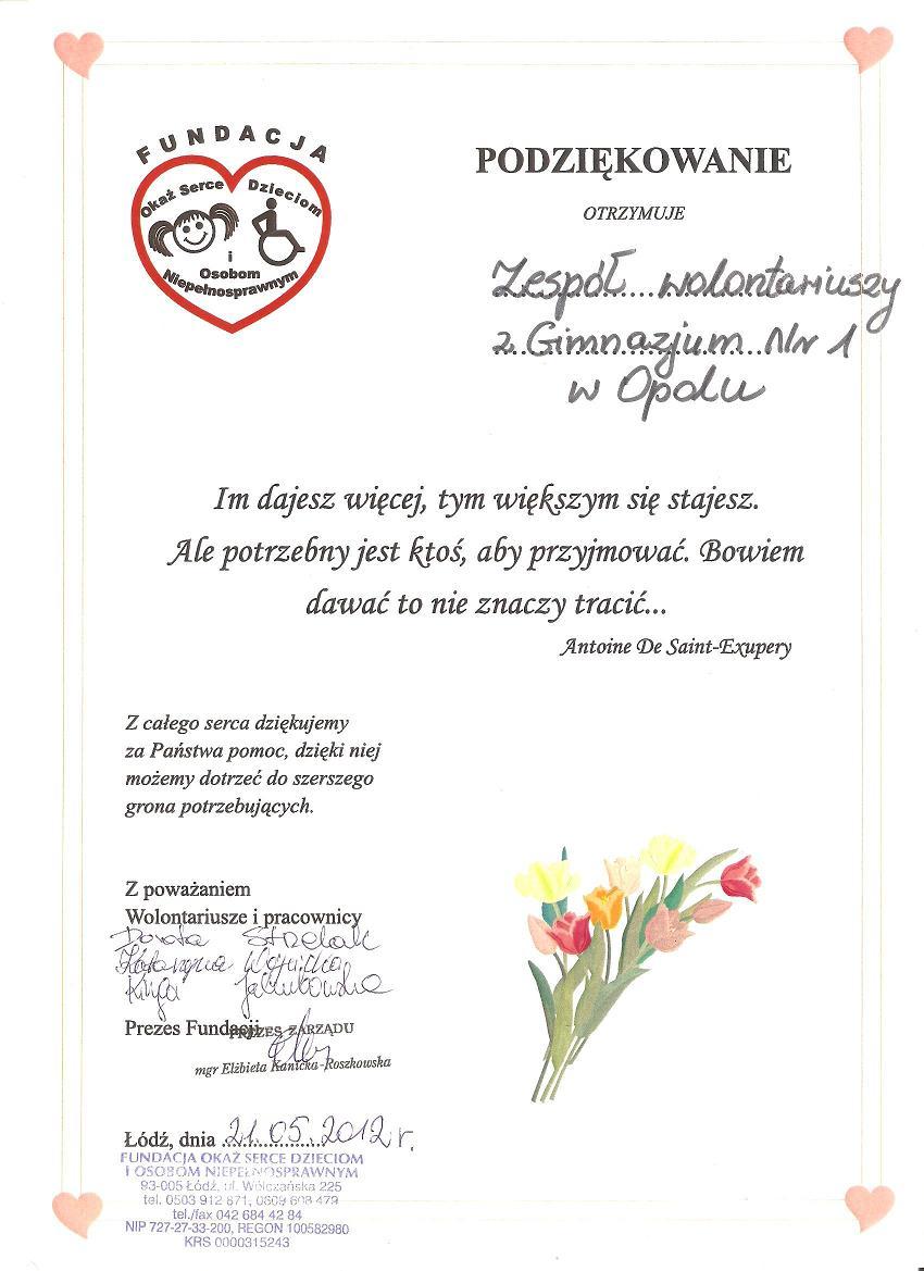 You are browsing images from the article: Szkolne Koło Wolontariatu w Publicznym Gimnazjum nr 1 w Opolu